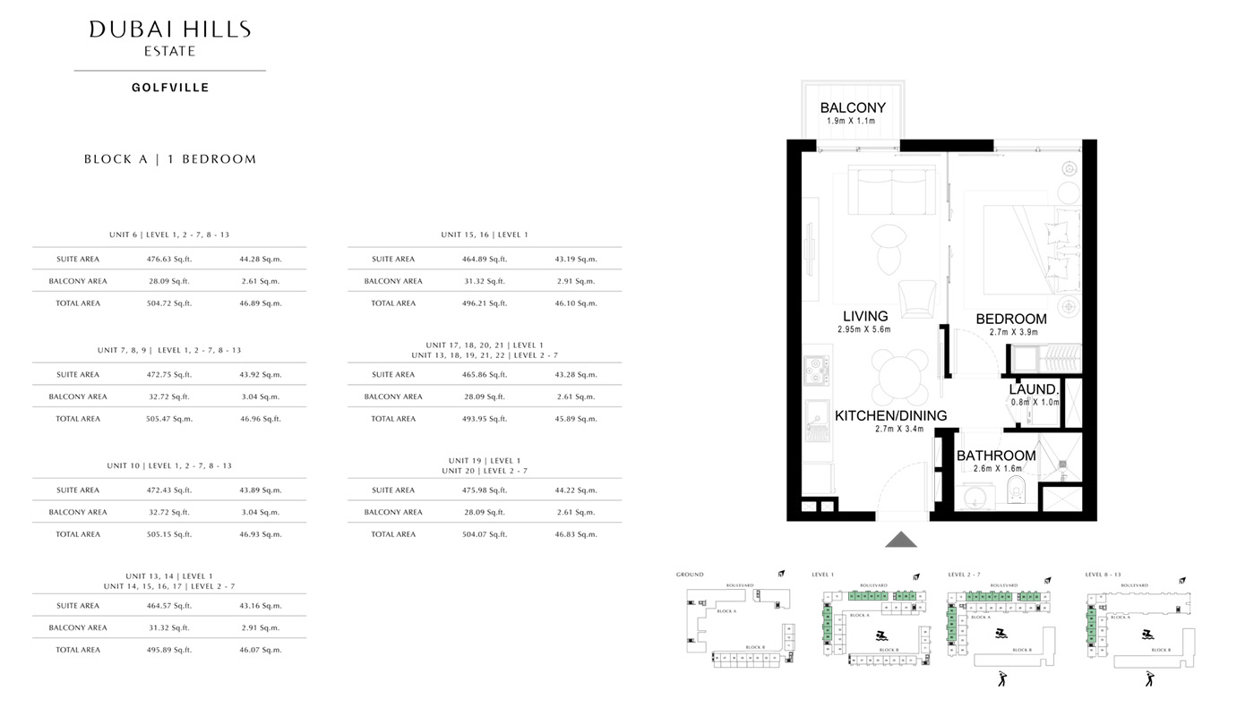 1-Bedroom-Type-1, Building-3, Level-2-6, Size-705-Sq-Ft